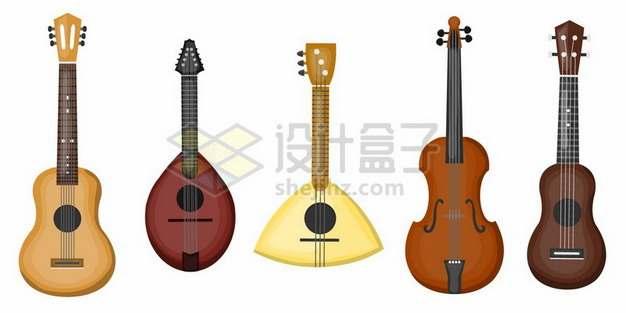 各种吉他尤克里里小提琴等弦乐器837229png矢量图片素材