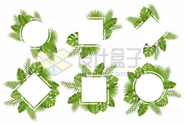 6款热带树叶装饰的方框文本框信息框618514png矢量图片素材