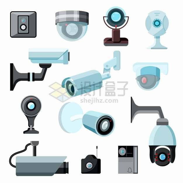 各种卡通监控摄像头智能监控设备png图片素材