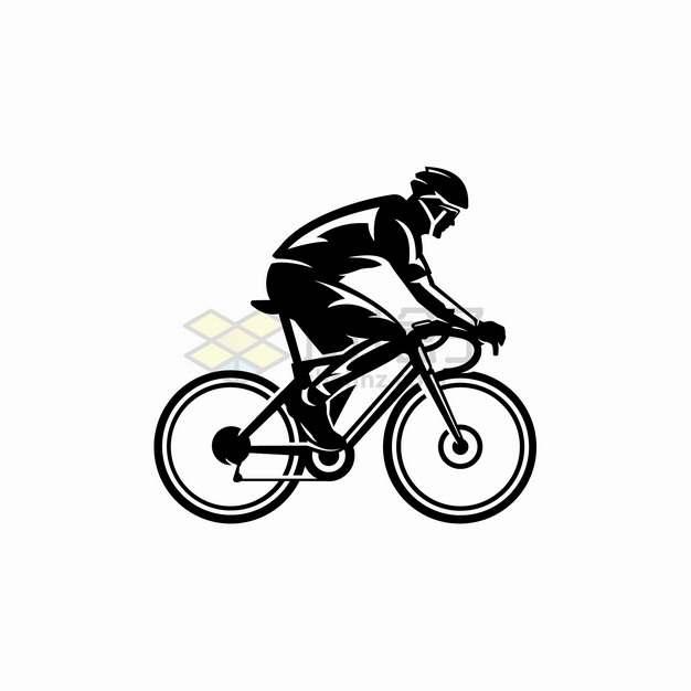骑自行车的运动员卡通黑白插画png图片素材
