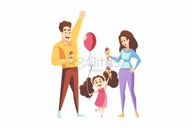 卡通爸爸妈妈和女儿一起玩耍开心的六一儿童节亲子关系png图片素材