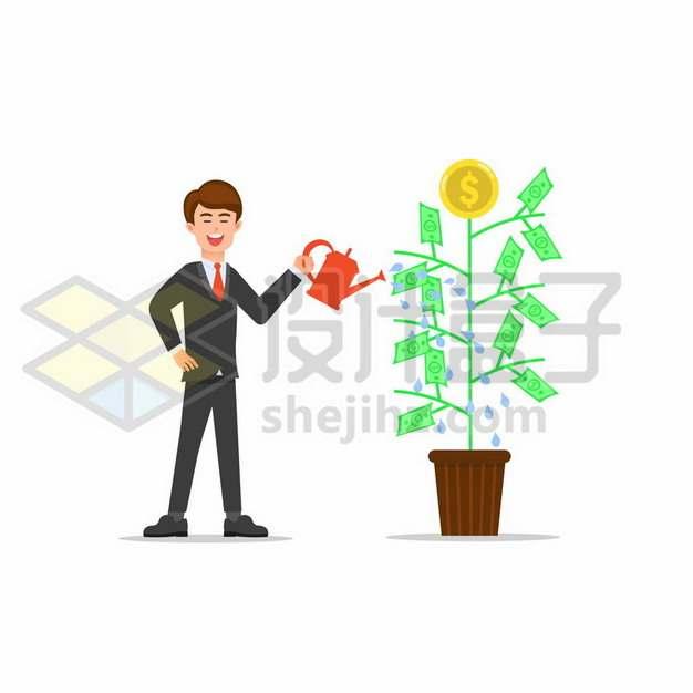 卡通商务人士正在浇水摇钱树金钱树862039png矢量图片素材