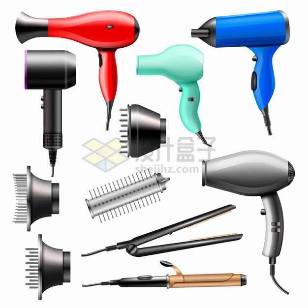 电吹风直发夹板卷发棒等头发美发工具png图片素材