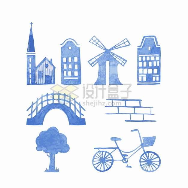 教堂大风车拱桥砖块大树自行车蓝色水彩插画png图片素材