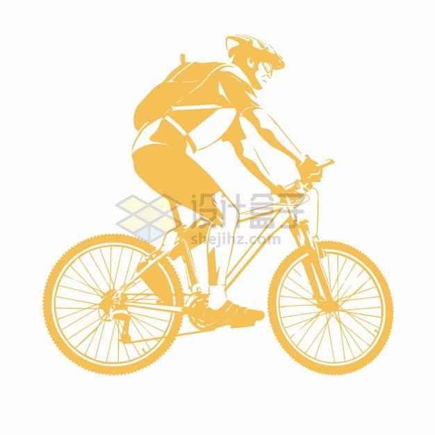 黄色骑自行车的年轻人插画png图片素材