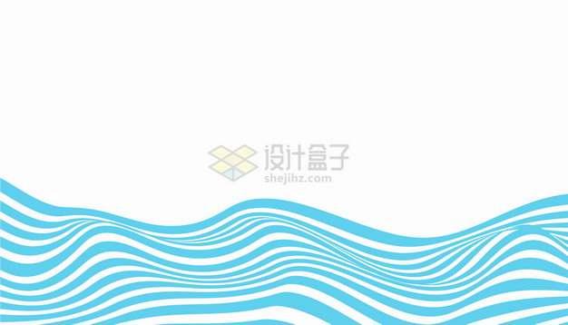 蓝色波浪线曲线海洋线条png图片素材