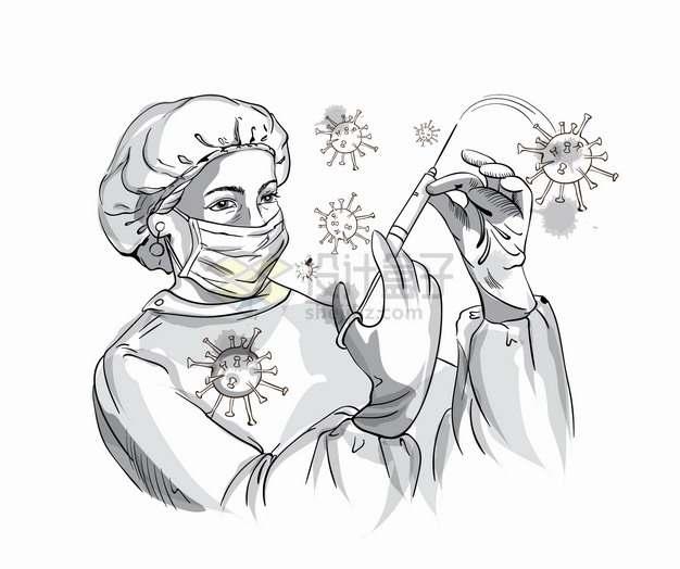 医生护士拿着针筒杀死新型冠状病毒手绘插画png图片素材