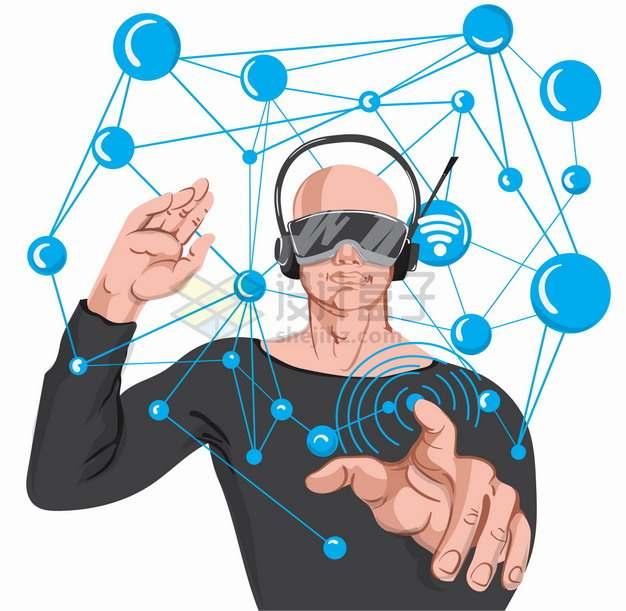 戴着VR虚拟现实技术眼镜的男人在隔空操作png图片素材