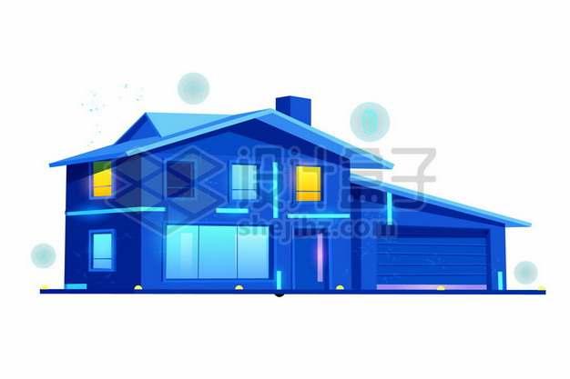蓝紫色夜晚的别墅房子911539png矢量图片素材
