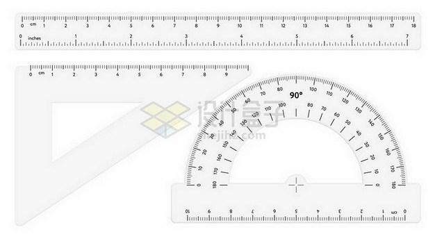 透明塑料直尺三角尺量角器593990png矢量图片素材 教育文化-第1张