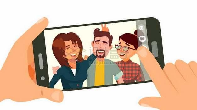 卡通双手操作手机拍照824277png矢量图片素材