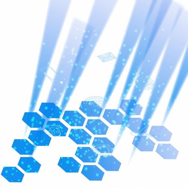 蓝色科技风格六边形装饰270381png矢量图片素材 装饰素材-第1张