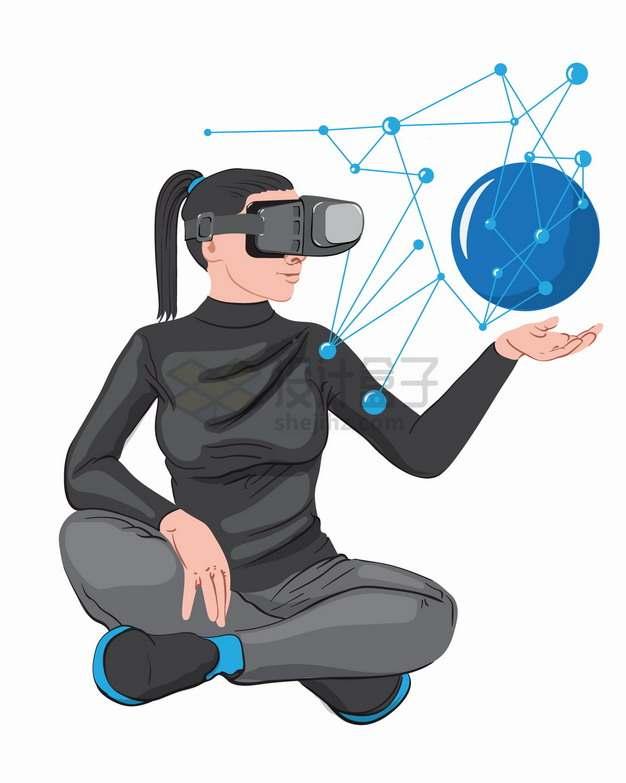 戴着VR虚拟现实技术眼镜的美女在隔空操作png图片素材