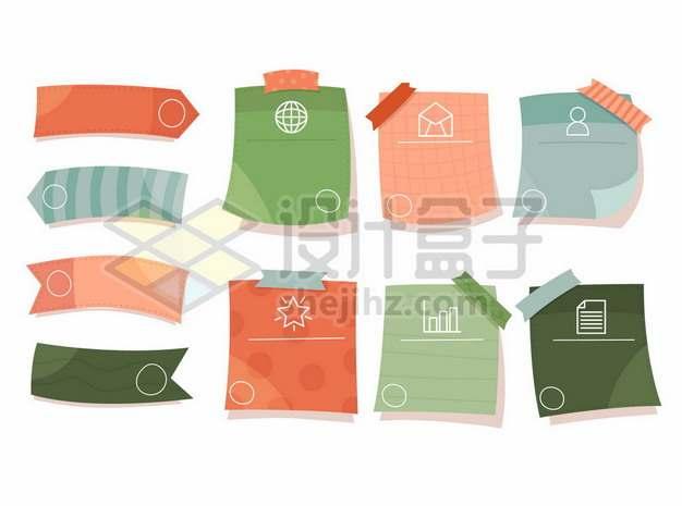 各种彩色卡通PPT信息图表文本框便签贴纸404503png矢量图片素材
