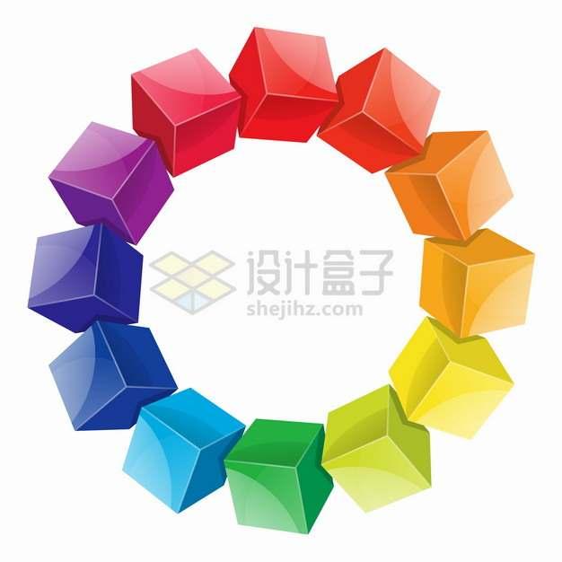 彩色立方体立方块组成的圆环装饰png图片素材