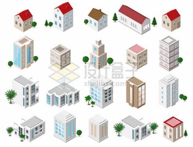 20款2.5D风格小房子别墅高楼大厦304891png矢量图片素材
