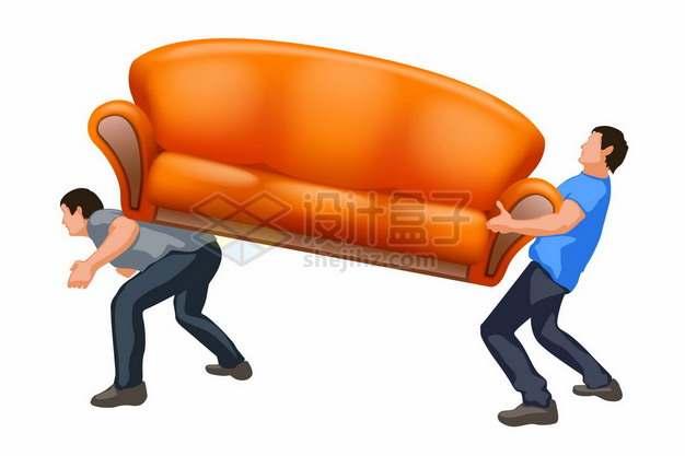 两个搬运橙色多人沙发的搬家公司员工972272png矢量图片素材