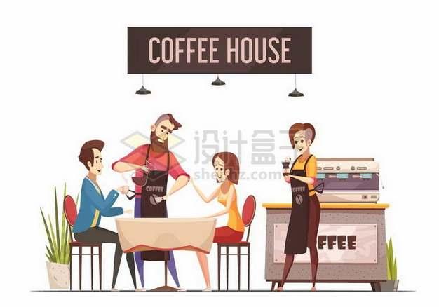 在咖啡店中喝咖啡的情侣和服务员797431png矢量图片素材