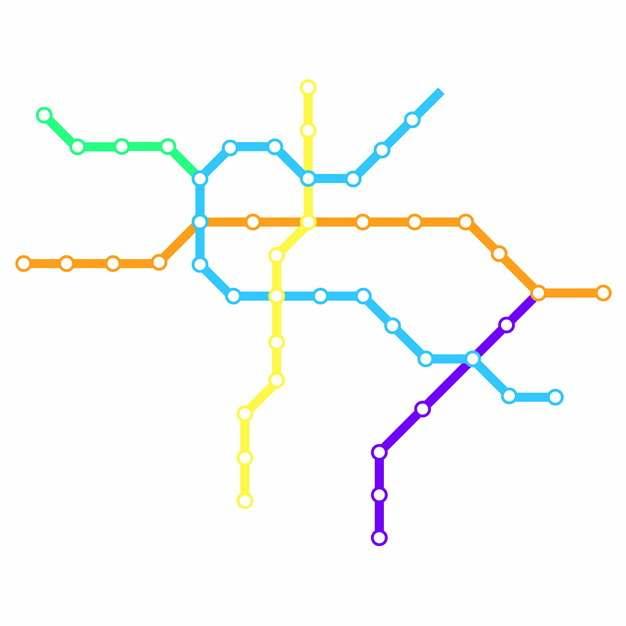 彩色线条威海地铁线路规划矢量图片403457