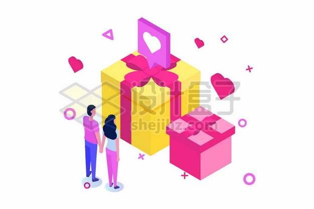 手牵手的情侣和礼物454812png矢量图片素材