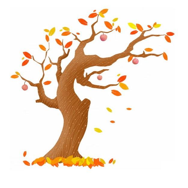 秋天叶子掉光的大树手绘插画832648png图片免抠素材 生物自然-第1张