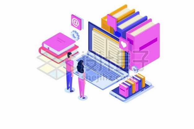 2.5D风格笔记本电脑手机和书籍网上书店523773png矢量图片素材