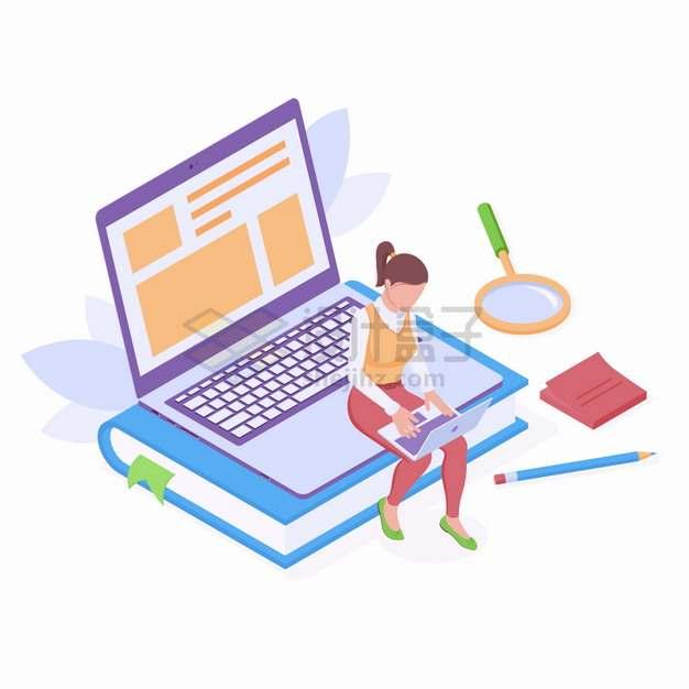 2.5D风格卡通女孩坐在笔记本电脑上玩电脑网上阅读png图片素材