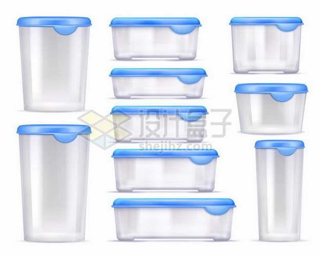 各种蓝色盖子的塑料保鲜盒饭盒水杯收纳盒等207170png矢量图片素材
