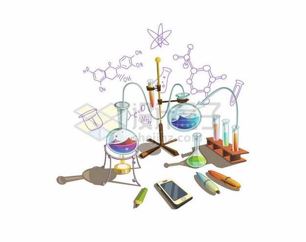 卡通化学实验室中的烧瓶酒精灯等化学仪器329370png矢量图片素材
