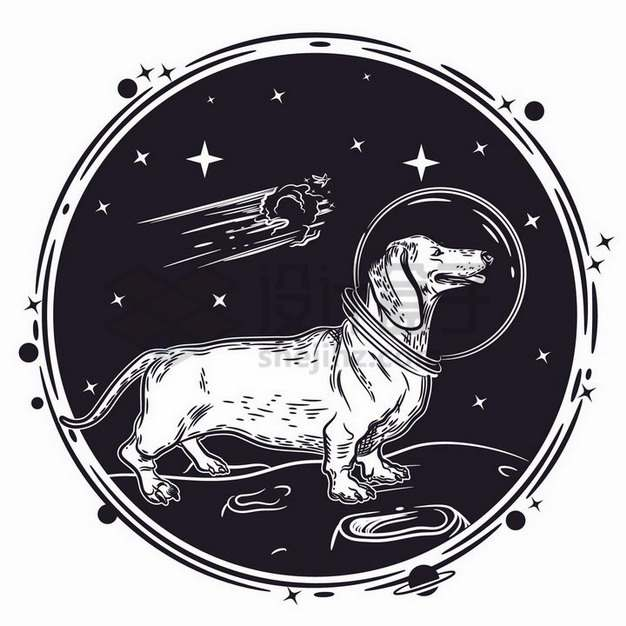 第一条进入太空的太空狗插画750313png矢量图片素材