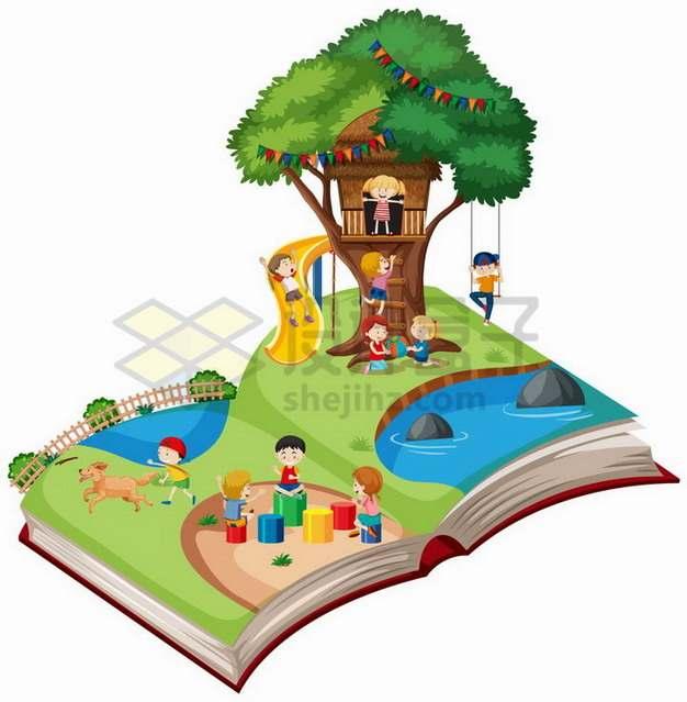 打开书本上在树屋上玩耍的卡通小朋友826507png矢量图片素材