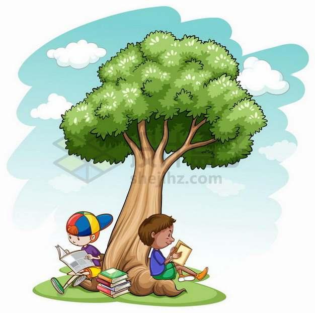 靠在大树下面看书读报的卡通小朋友917239png矢量图片素材