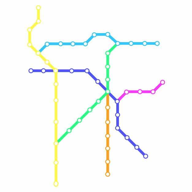 彩色线条衡阳地铁线路规划矢量图片750979