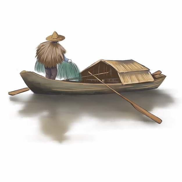 架着小船捕鱼的渔夫中国传统水墨画506830 png图片素材