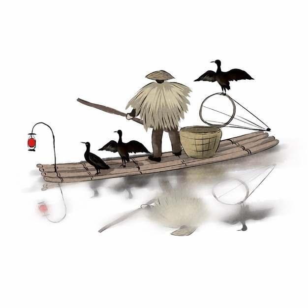 架着竹筏用鸬鹚捕鱼的渔夫中国传统水墨画471823 png图片素材