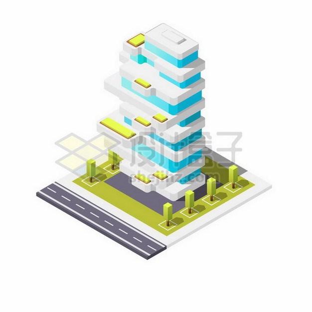 造型别致的蓝白色卡通大厦大楼880641png矢量图片素材 建筑装修-第1张
