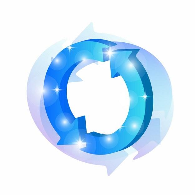 3D立体蓝色科技风格循环箭头838799png矢量图片素材 线条形状-第1张