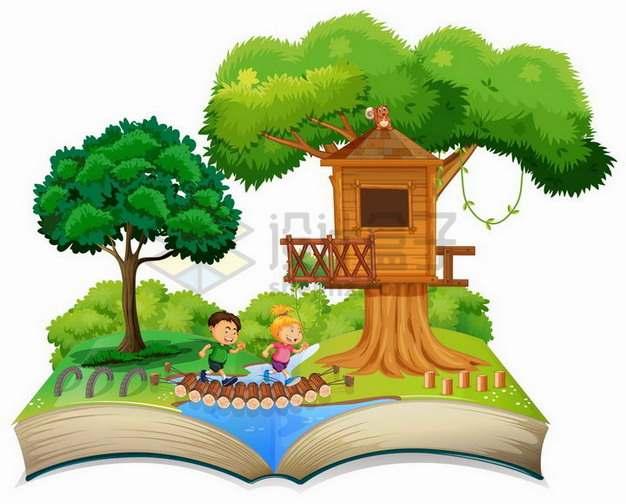 打开书本上的森林的树屋和卡通小朋友922669png矢量图片素材