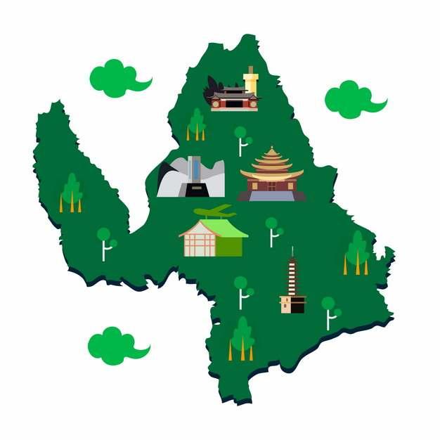 卡通风格云南丽江旅游地图482223png图片素材