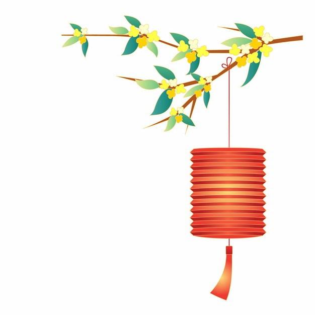 中秋节桂花枝和红色灯笼963240png矢量图片素材 节日素材-第1张