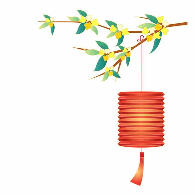 中秋节桂花枝和红色灯笼963240png矢量图片素材