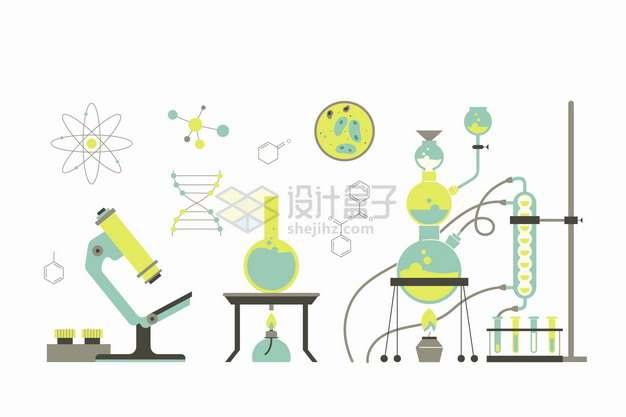 绿色显微镜烧瓶酒精灯DNA原子图形等化学实验仪器等png图片素材