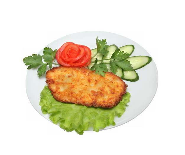 盘中的炸鸡排炸鸡胸肉和西红柿黄瓜片271910png图片素材