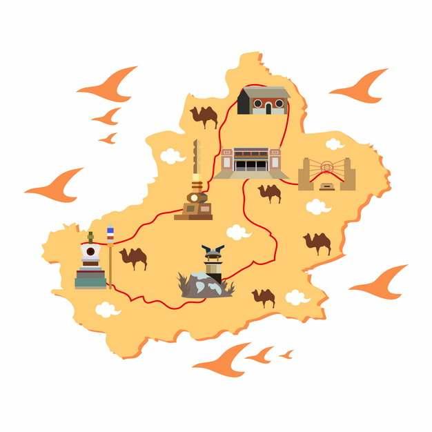 卡通风格新疆旅游地图920790png图片素材