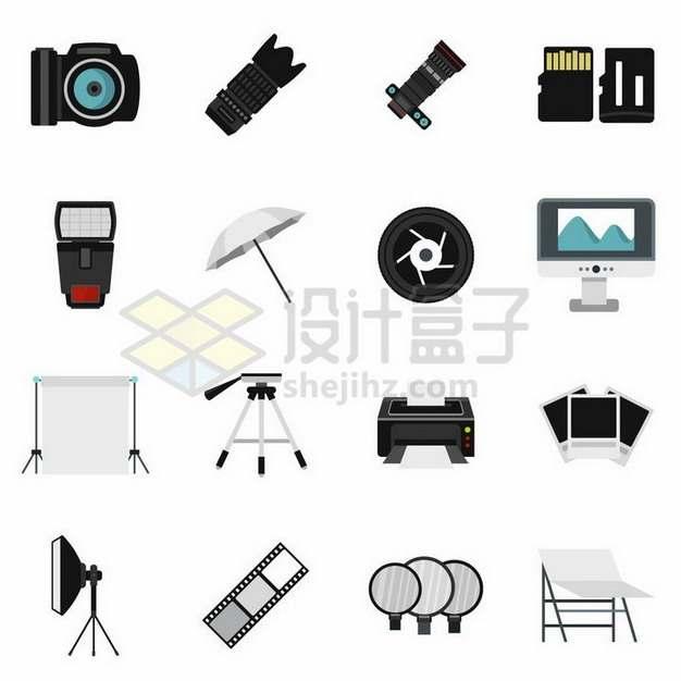 照相机镜头SD卡闪光灯三脚架等拍摄用品861755png矢量图片素材