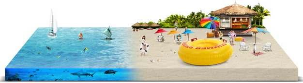 3D立体风格海滩和海洋水体旅游风景区641969png图片素材