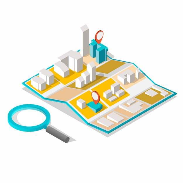 展开的3D城市地图和放大镜252280png图片素材