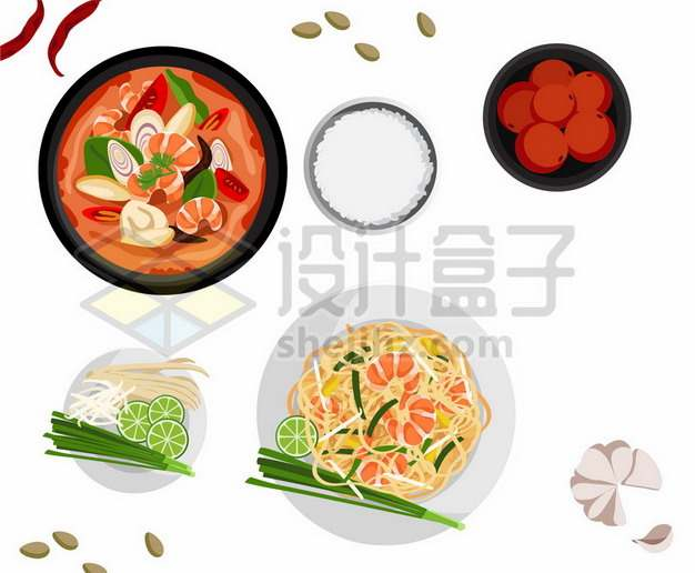 俯视视角的海鲜汤白米饭海鲜拌面大蒜等美味美食928581png矢量图片素材