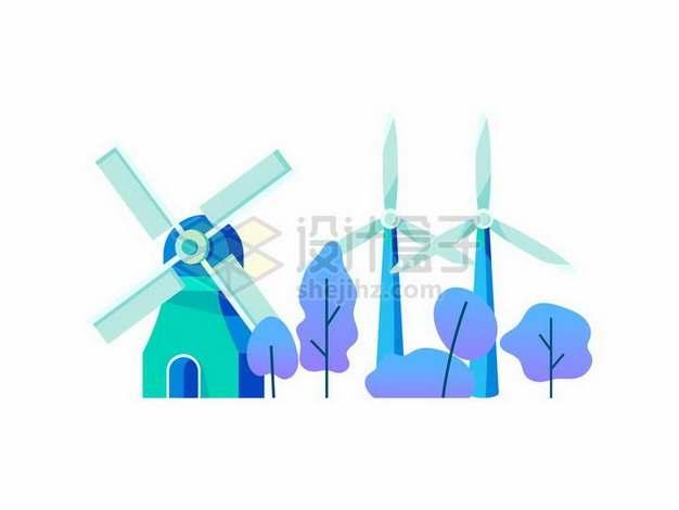 蓝紫色的大风车和风力发电机插画825521png矢量图片素材