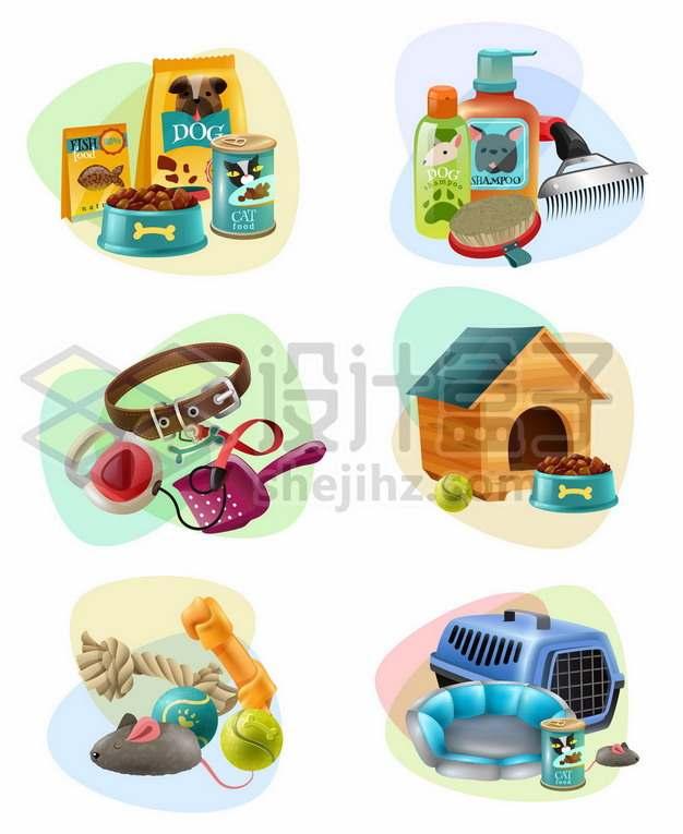 各种狗粮狗窝宠物玩具612298png矢量图片素材